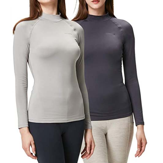 DEVOPS Womens 2 Pack Thermal Heat-Chain Compression Base Layer Tops Mock Turtleneck